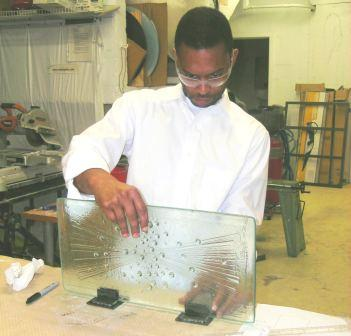 jon cofield working in the glass school