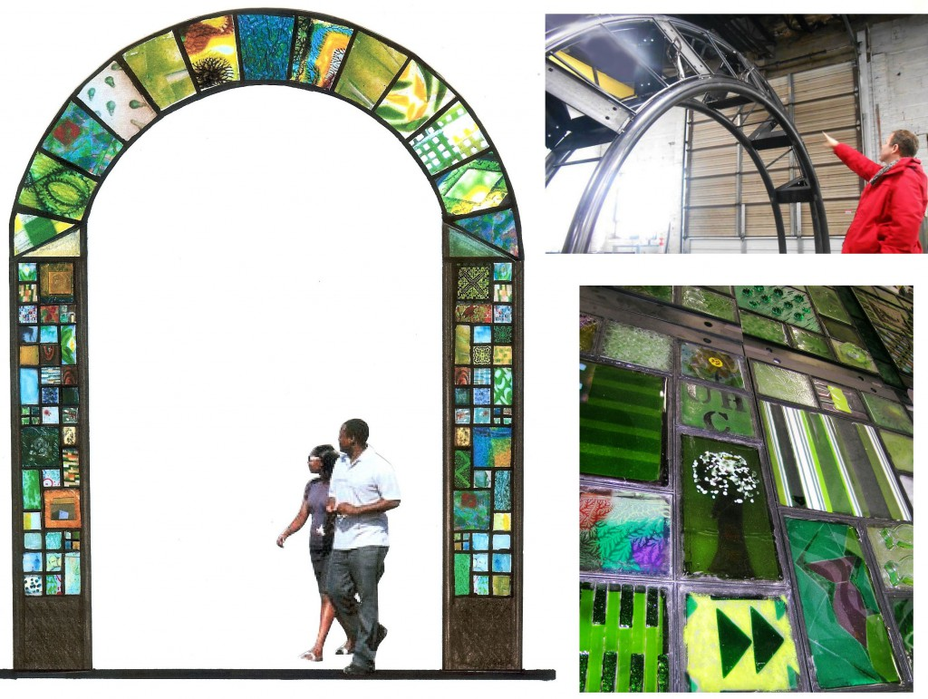 """Gateway To Community""   Glass and steel arch for Washington, DC Ward 7. Under Construction"