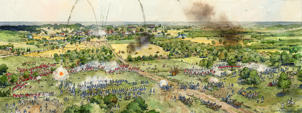 Artists Rendering of the Battle of Bladensburg (Gerry Embleton-Courtesy NPS/Star Spangled Banner National Historic Trail)