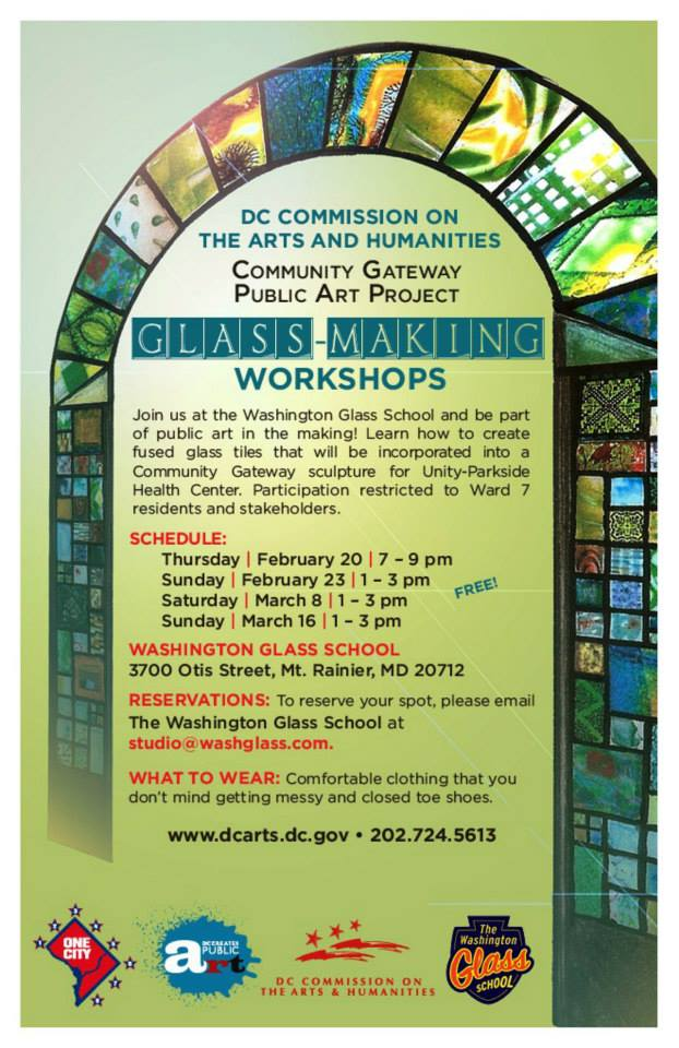 DCCAH invitation to Ward 7 to make glass at WGS