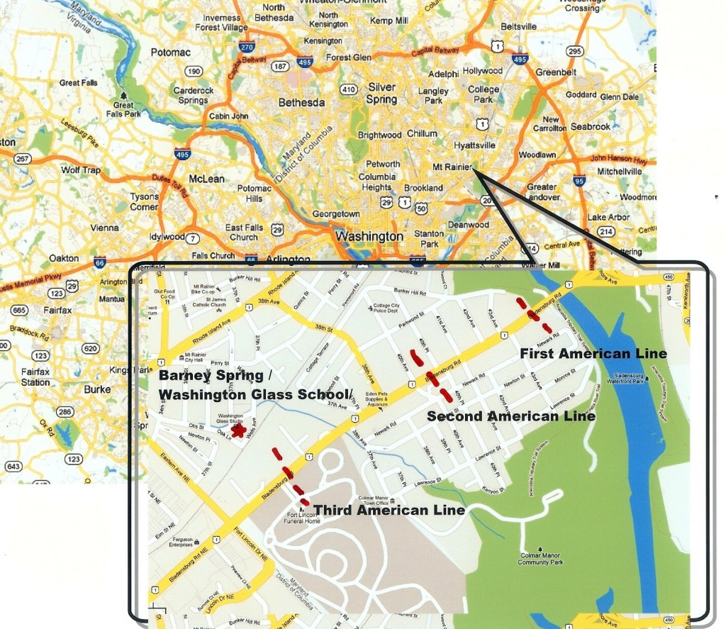 Current day map showing US troop positions in Battle of Bladensburg