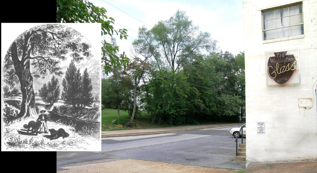 "Then & Today Left inset: Engraving (ca. 1860) of battlefield site where Joshua Barney fell by Benson Lossing in ""Field Book of the War of 1812 "" ; Right: Washington Glass School on the same site. Over the past 200 years, the topography has been modified and changed tremendously - the creek now flows under the concrete pathway opposite the Glass School."