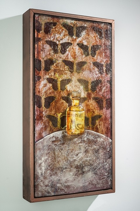 """Sean Hennessey; """"Drink Me-tamorphosis""""; Glass, Concrete, Paint 24""""x12"""""""