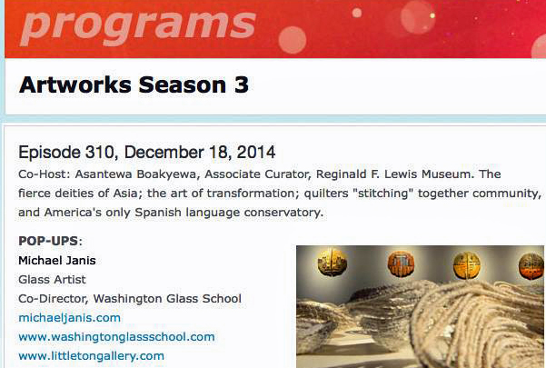 Washington Glass School Artist Michael Janis featured on Maryland's PBS station.