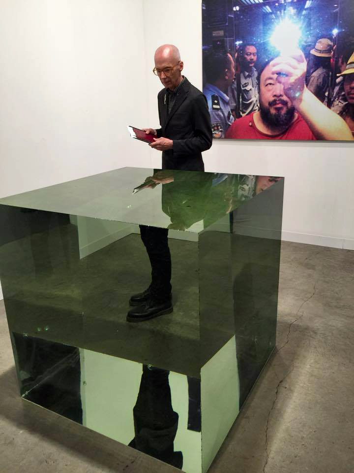 William Warmus with artwork by Ai Weiwei titled Crystal Cube.