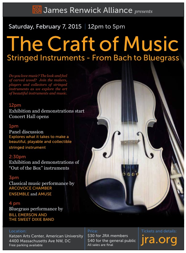 The Craft of Music will take place at the Katzen Arts Center of American University from noon - 5:00 on Feb 7.