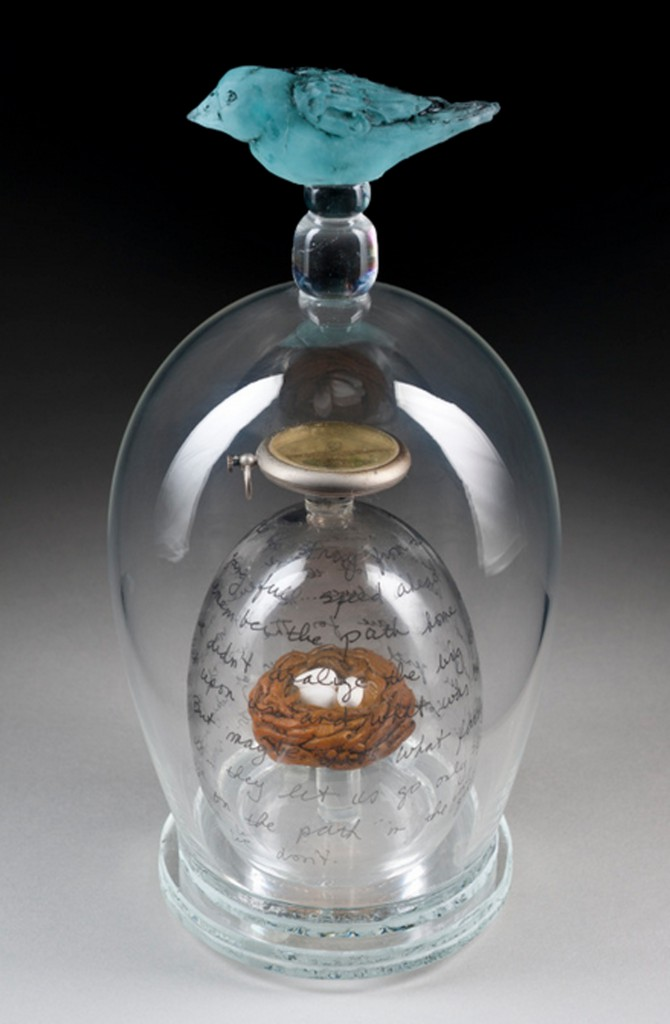 "Tm Tate, Homeward Bound, 2013, medium blown and cast glass, found objects, 12 x 6 x 6"", photo by Pete Duvall."