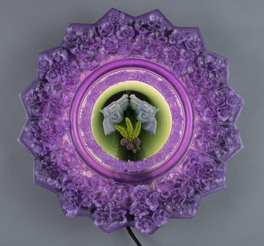 "Tim Tate, ""Violet Tattoo Infinity"", Cast Poly-Vitro, Glass, Lighting; photo: Pete Duvall"