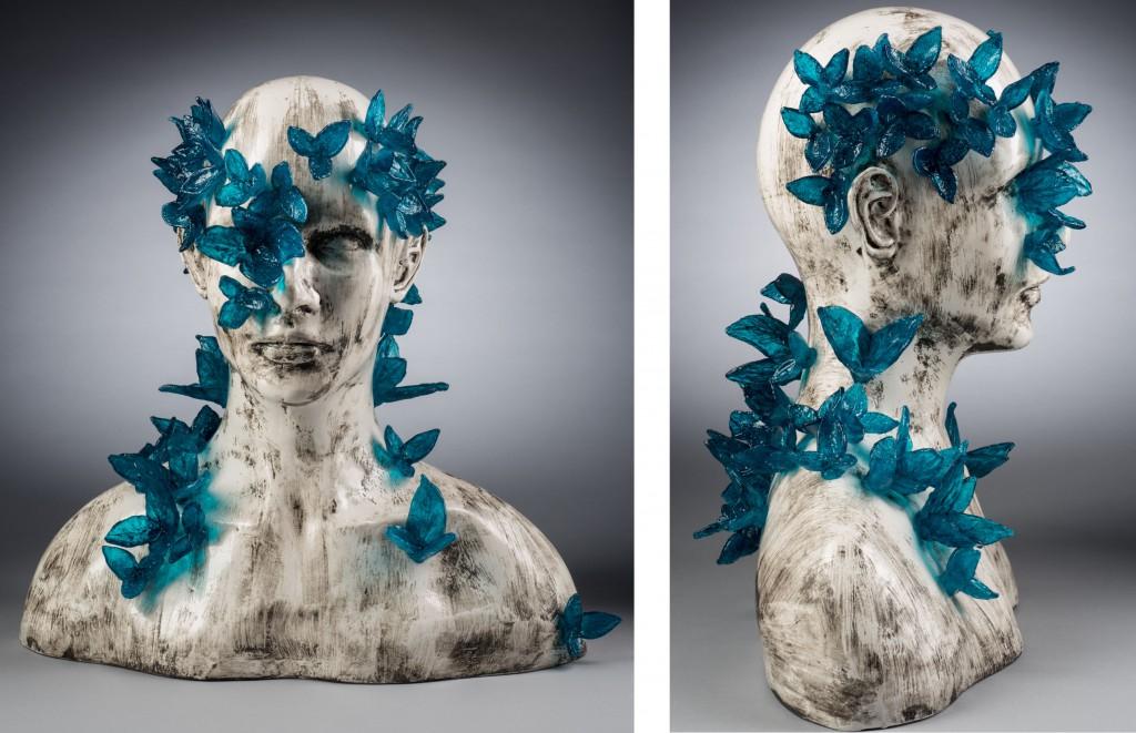 "Michael Janis, ""Regeneration"", cast glass, ceramic, 14"" x 16"" x 12"" photo: Pete Duvall"