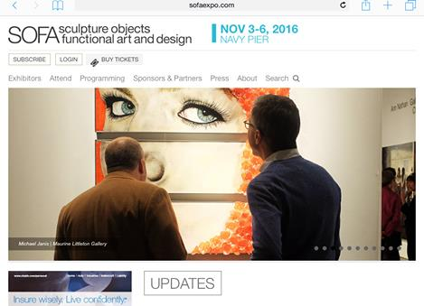 The website for the international art fair SOFA featured work by Michael Janis on its home page.
