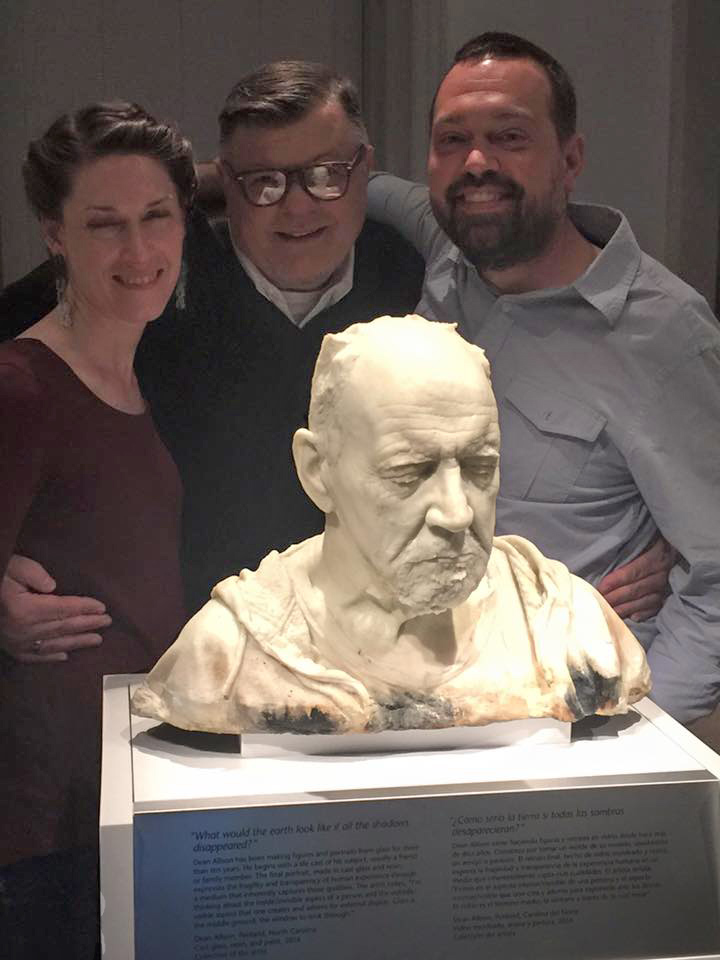 Dean Allison's sculpture at the Smithsonian. L-R Nancy Kerr, Tim Tate, Dean Allison