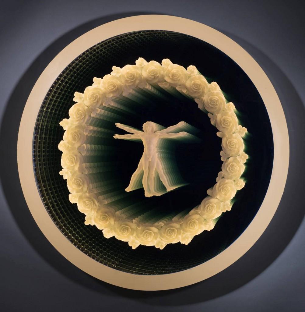 "Tim Tate; ""Vitruvian Visions""36 x 36 x 4""; Glass, Aluminum, Poly-Vitro, Electronics"