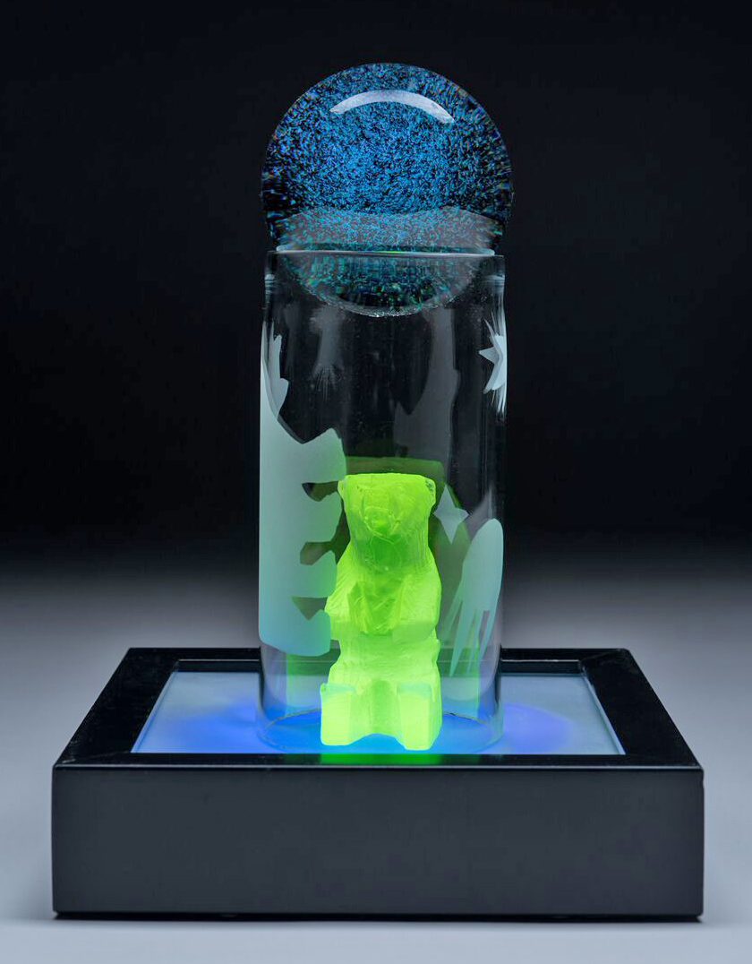 "Veta Carney, ""Ursa Major"". cast, blown, sandblasted and lampworked glass, ultraviolet light. photo: Pete Duvall"