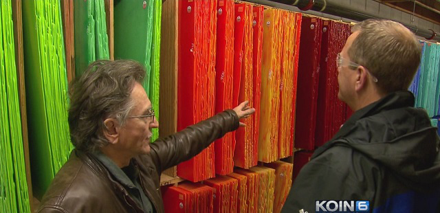 Bullseye Glass President Dan Schwoerer shows KOIN 6 News colorful glass made in his factory, Mar. 10, 2016