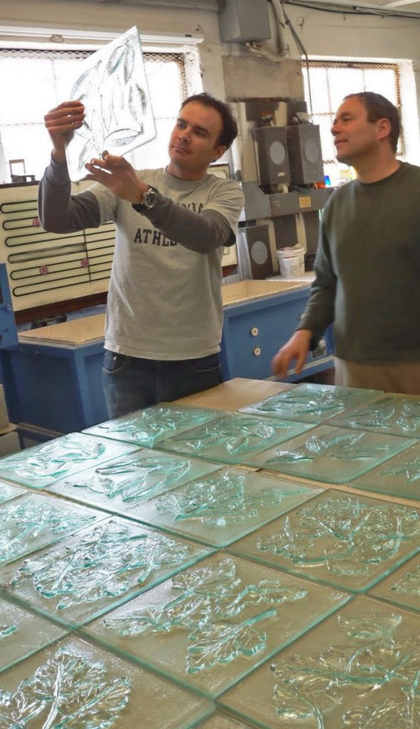 ML Duffy reviews the Safeway glass panels cast from recycled glass with WGS Co-Director Erwin Timmers.