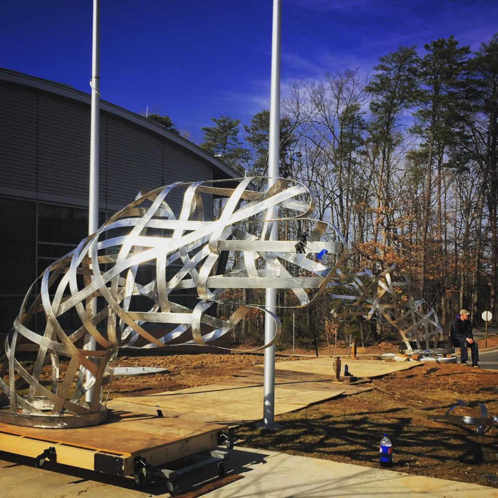 "Matthew Duffy,""Mutual Understanding, Mutual Respect,"" being installed at Reston, VA's new North County Government Center. Photo: Lizzie Temme Duffy"