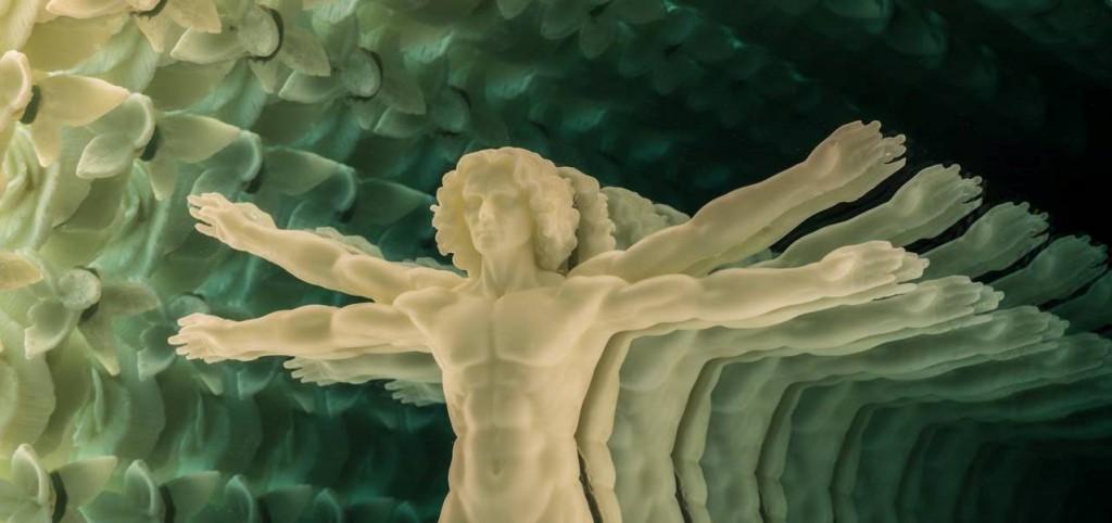 "Tim Tate "" Vitruvian Visions""; 36 x 36 x 4; Glass, Aluminum, Poly-Vitro, Electronics"
