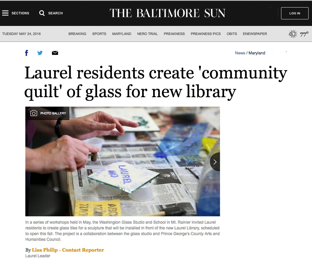 Baltimore Sun coverage of how the Washington Glass Studio engages community.
