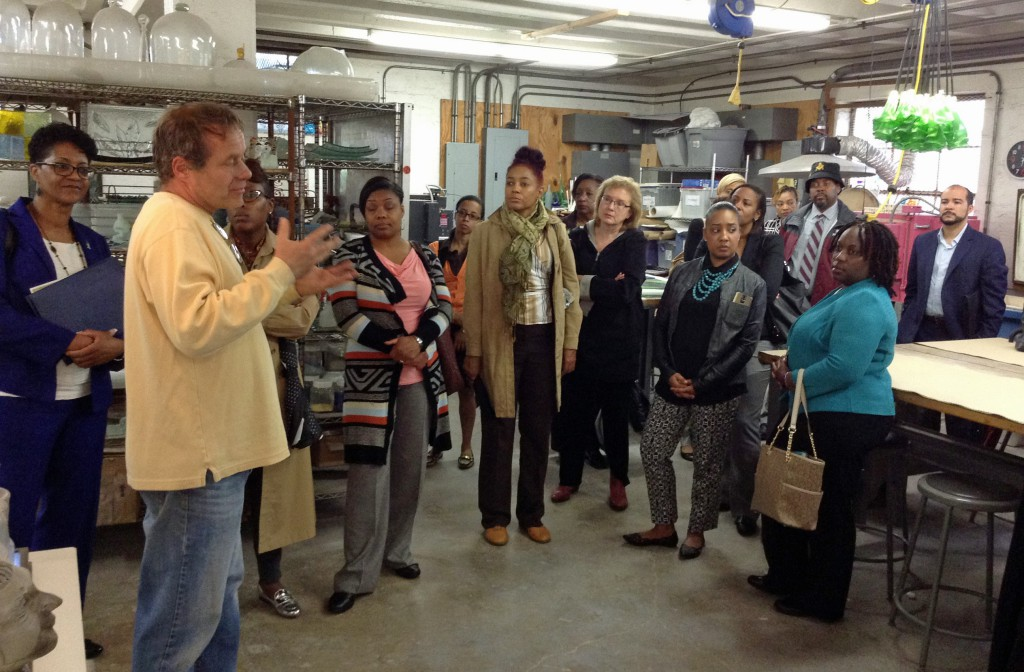 Erwin Timmers outlines the process of involving community in the design of public art to the Leadership Council tour.