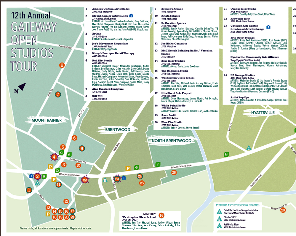 Map of Gateway Open Studio Tours 2016
