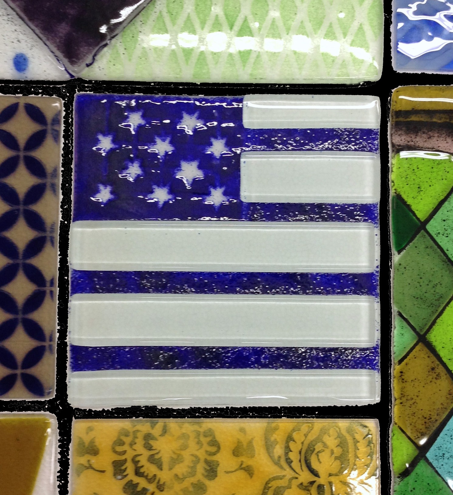 One of the fused glass panels made for the new Laurel Library public artwork.