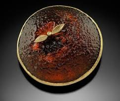 "Don Friedlich, ""Navel Orange Brooch"" cast glass"