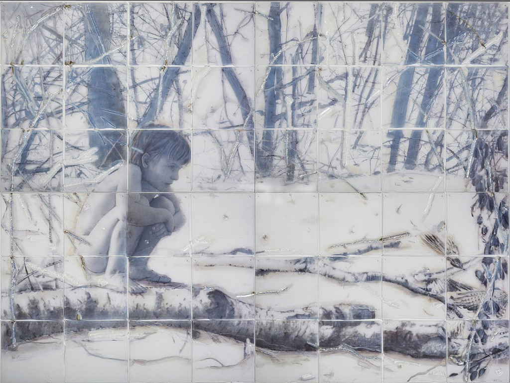 "Sibylle Peretti; ""Land Mine""; slumped, engraved, painted and silvered glass, paper; 60"" x 80"" x 0.5""; 2015"