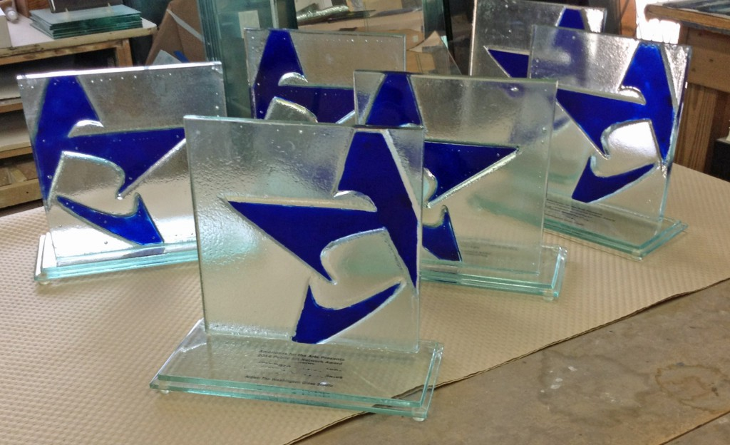 The Americans For The Arts awards are prepared for shipping.