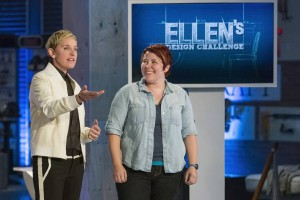 "Television host Ellen DeGeneres presents the winner of ""Ellen's Design Challenge,"" Vivian Beer. - Photo by Courtesy of HGTV"