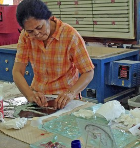 Sandhya Kiran works on her cast & fused glass in the studio