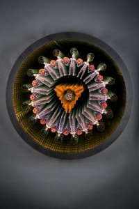 "Tim Tate, ""The Endless Cycle""; 36 x 36 x 4""; Glass, Aluminum, Poly-Vitro, electronics"