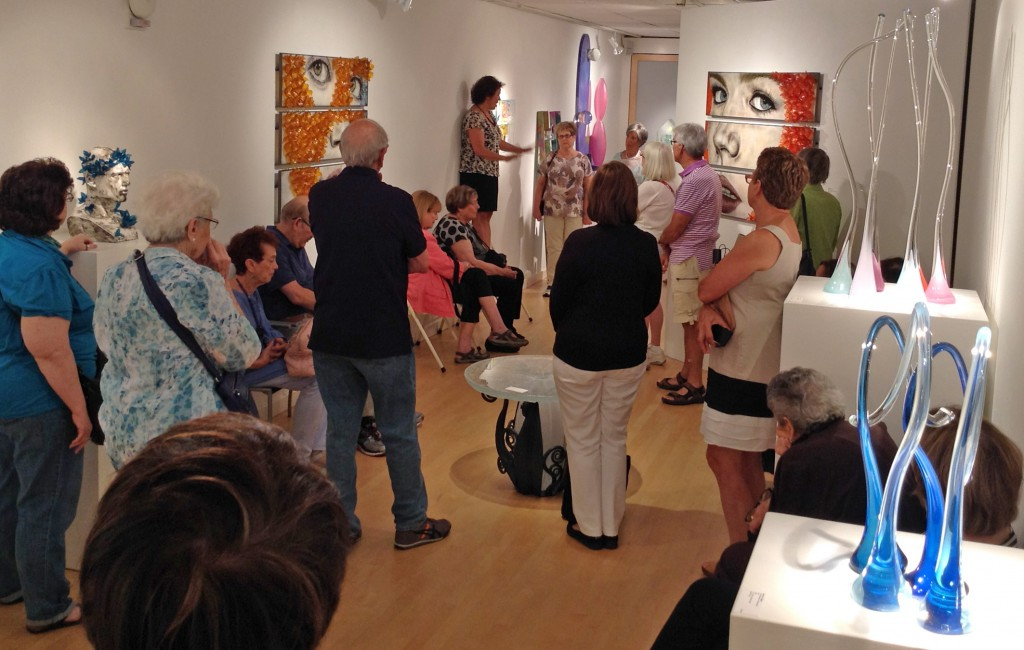 The art glass tour group continued their pilgrimage to Maurine Littleton Gallery in Georgetown, and were delighted to have owner Maurine Littleton talk about the history of studio glass, how she started the gallery and about the works on exhibit in the gallery.