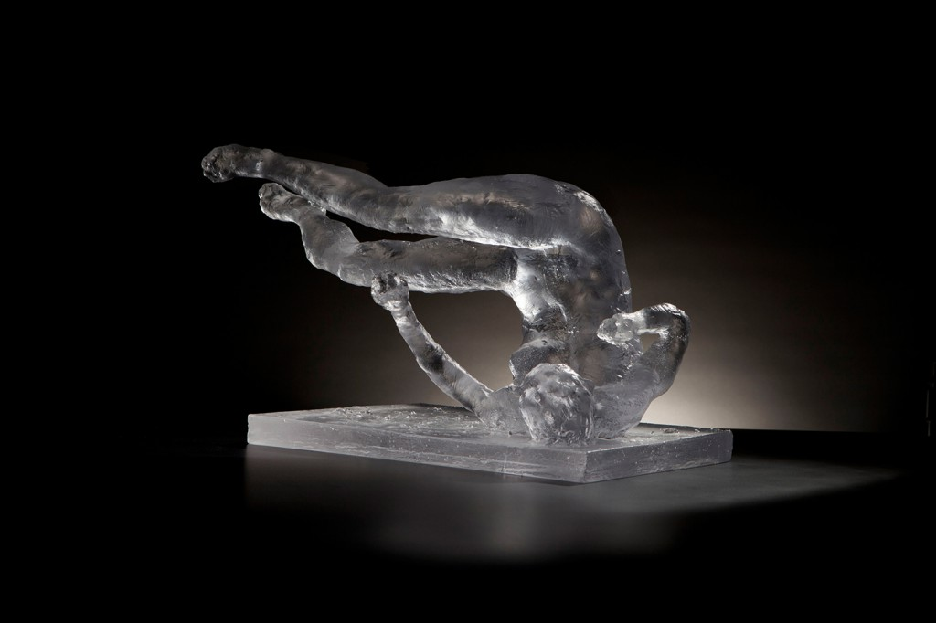 "Eric Fischl's ""Tumbling Woman"" Eric Fischl. ""Tumbling Woman, Study,"" 2012, glass, 12 x 18 x 14 in."