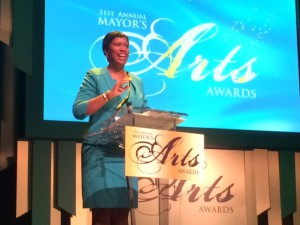 DC Mayor Muriel Bowser welcomes the audience to the 31st Mayors Arts Awards.