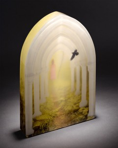 "Lindy Ihrman, "" Morning Mist""; digital photography and kiln cast glass; 10 x 15 x 2 inches"