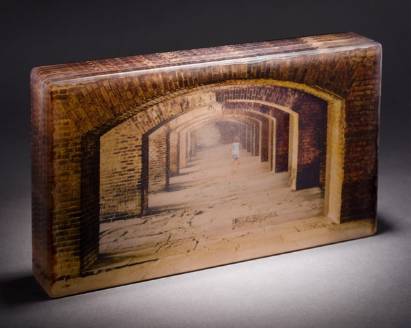 "Lindy Ihrman, ""Passages""; digital photography and kiln cast glass; 15 x 9 x 2½ inches"