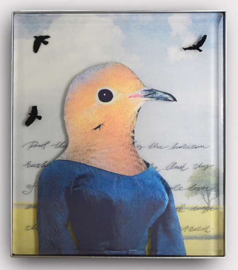 "Lindy Ihrman, ""Still Waiting""; digital photography and kiln formed glass, enamel, metal frame; 14 x 16 x 1 inches"