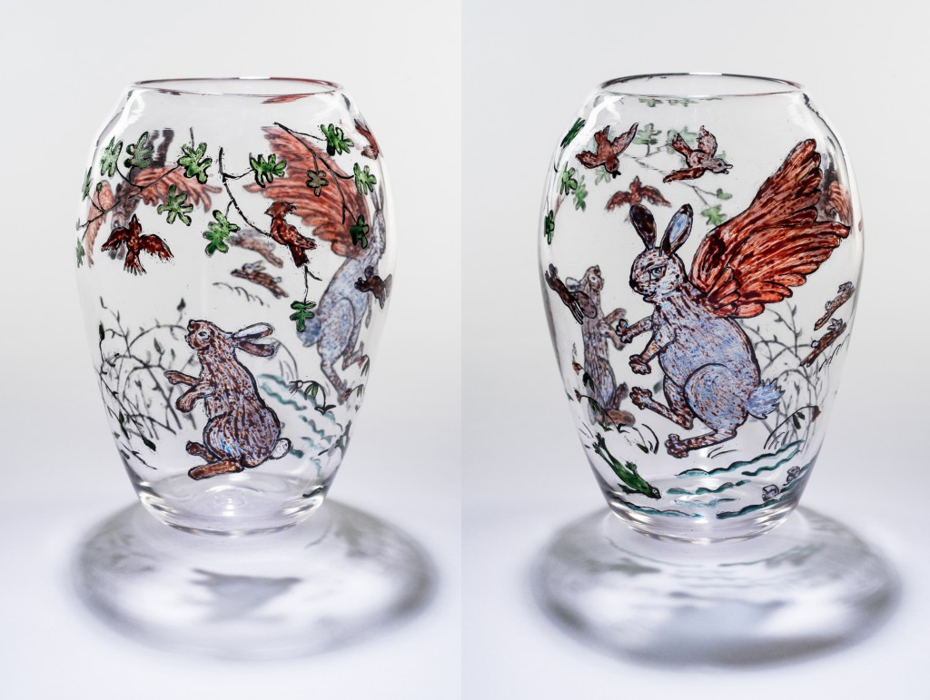 "Allegra Marquart,""The Rabbit Who Wanted Red Wings"";Hand blown reverse painted glass vessel; H.9""W. 5"""