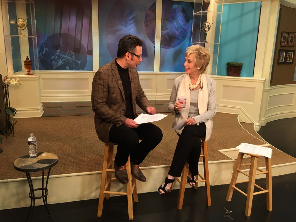 Michael Janis chats with MPT Artworks host Rhea Feikin during the taping of the episodes.