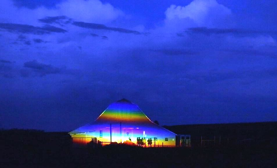 Dutch artist Berndnaut Smilde's monumental rainbow prism  featured on Artworks Episode 513.