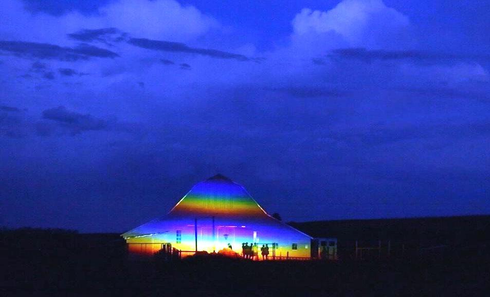 Dutch artist Berndnaut Smilde's monumental rainbow prism  featured on Artworks Episode 513.