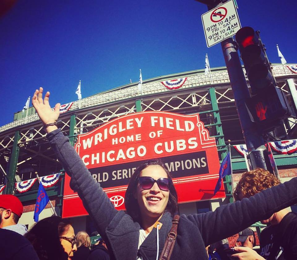 Go CUBS! Audrey Wilson shows her support for the World Champs at Wrigley Field.