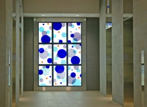 Site specific illuminated glass artwork by Washington Glass Studio.
