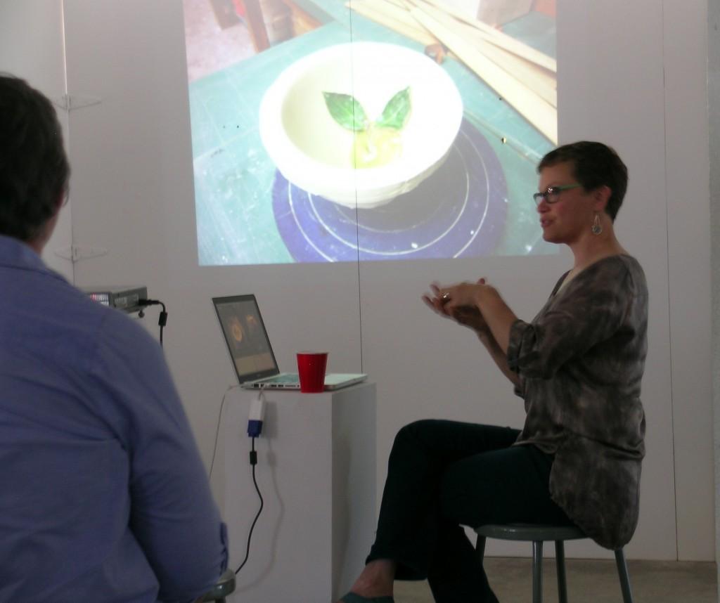 Deborah Ruzinsky lectures on glass casting techniques at Washington Glass School.