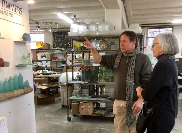 Erwin Timmers talks about the environmental themes that are part of his glass artwork to Gayle Paul - Curator at the Portsmouth Art & Cultural Center