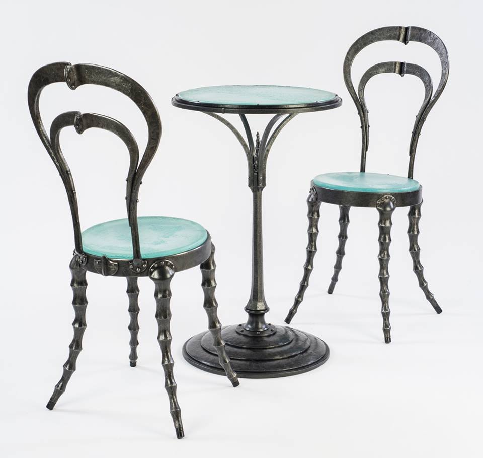 Chris Shea: Scapularis Chairs and Stalk Table Forged steel, glass