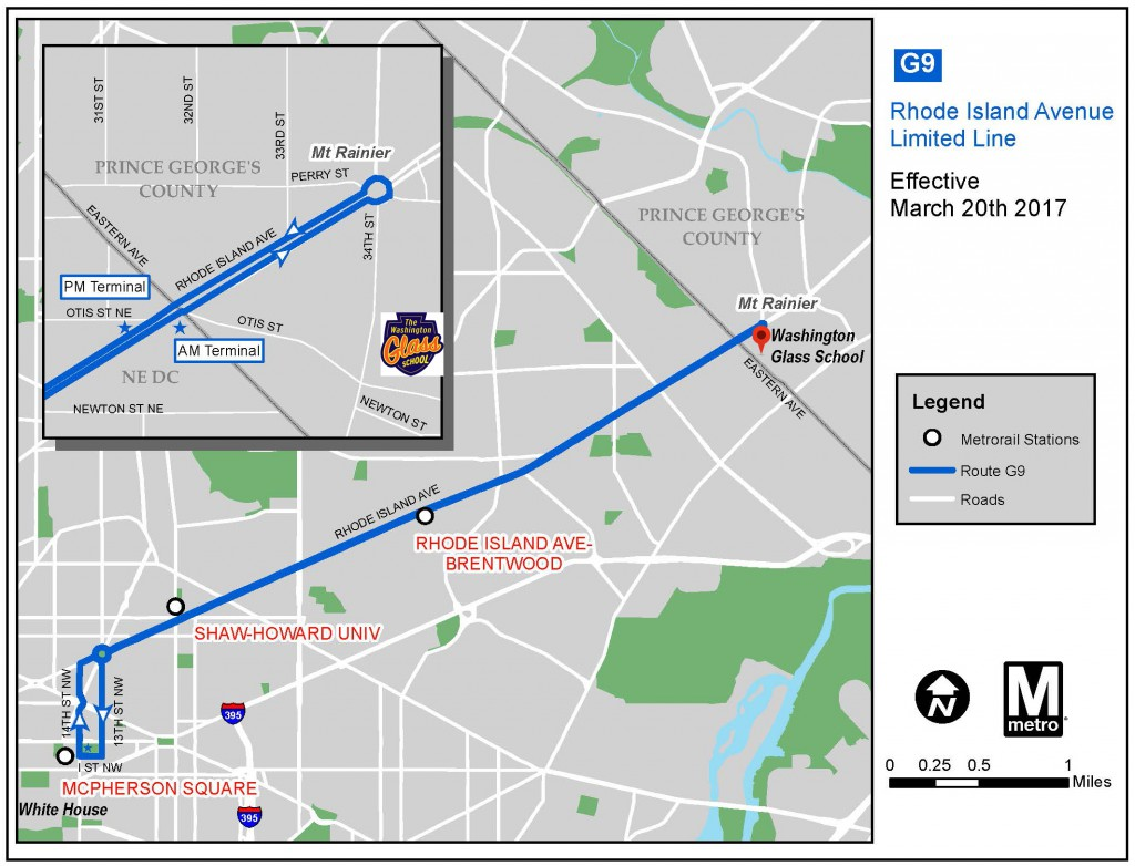 G9 Metro Bus route from Downtown DC to Mt Rainier Gateway Arts District.