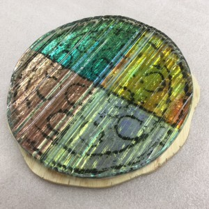 Washington Glass School made a glass pizza from recycled glass.