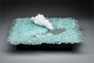 "Veta Carney's cast glass sculpture ""Edge of Extinction""."