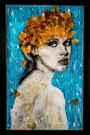 """Michael Janis, """"Finding My Soul A Home"""", 2015, fused and cast glass, glass powder imagery, steel"""